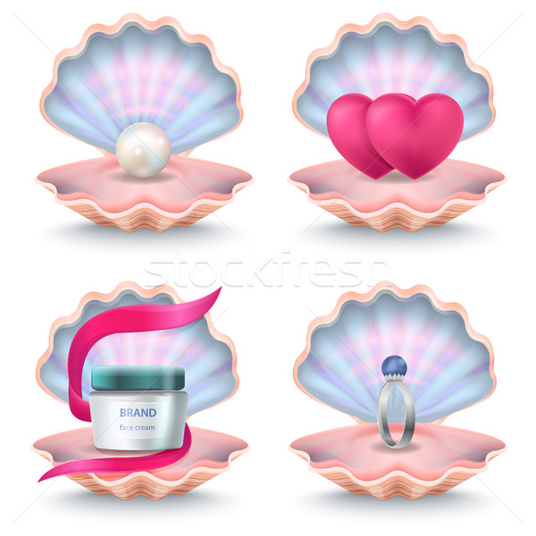 Shells with Face Cream, Pink Hearts, Wedding Ring Stock photo © robuart