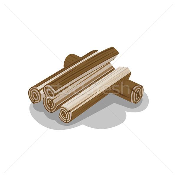 Ahşap yalıtılmış vektör yakacak odun elemanları Stok fotoğraf © robuart
