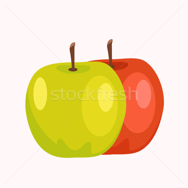 Сток-фото: красный · зеленый · яблоки · изолированный · белый · вкусный