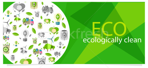 Eco Eecologically Clean Poster with Equipment Icons Stock photo © robuart
