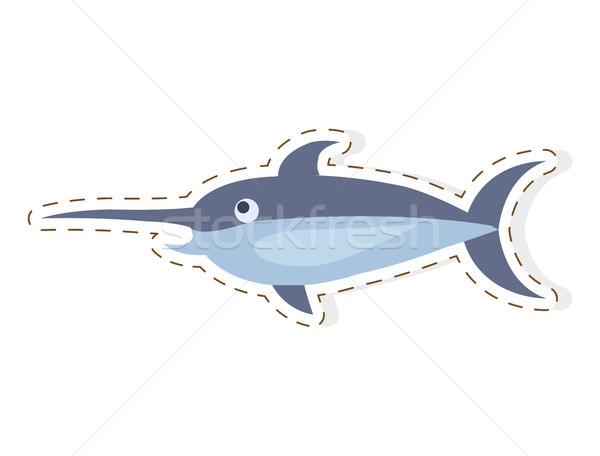 Cute zwaardvis cartoon vector sticker icon Stockfoto © robuart