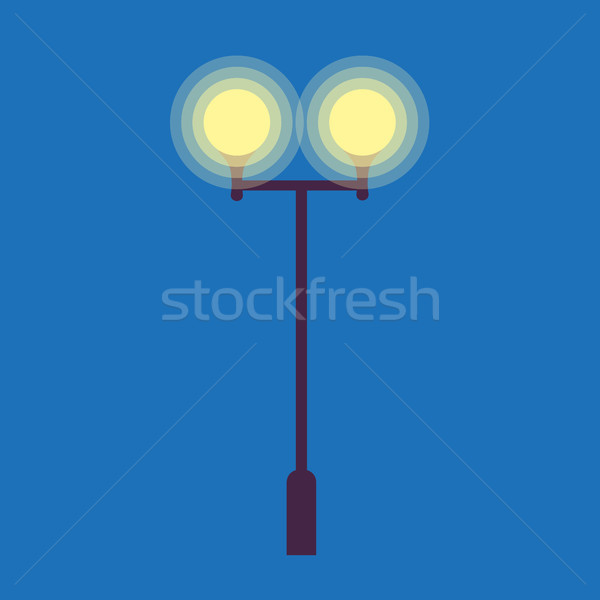 Street Lamp with Two Burning Light Bulbs on Blue Stock photo © robuart