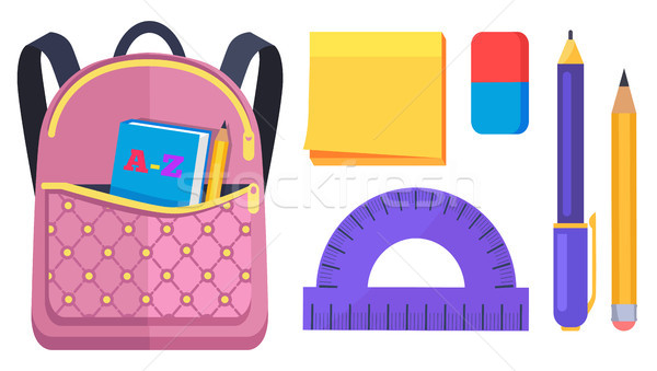 Pink Rucksack with Pocket on Back with ABC Book Stock photo © robuart