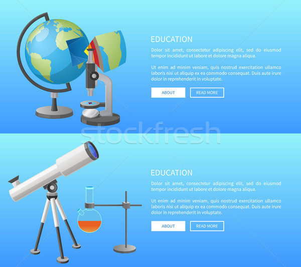 Education Web Banner with Geography and Astronomy Stock photo © robuart
