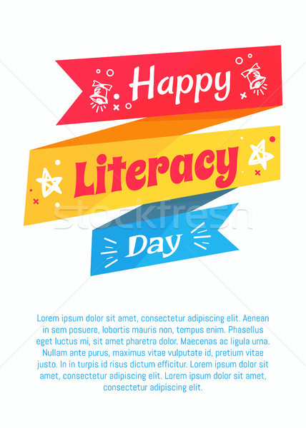 Happy Literacy Day Poster on Blue Background Text Stock photo © robuart
