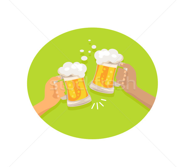 Friends Drinking Beer Shown on Vector Illustration Stock photo © robuart