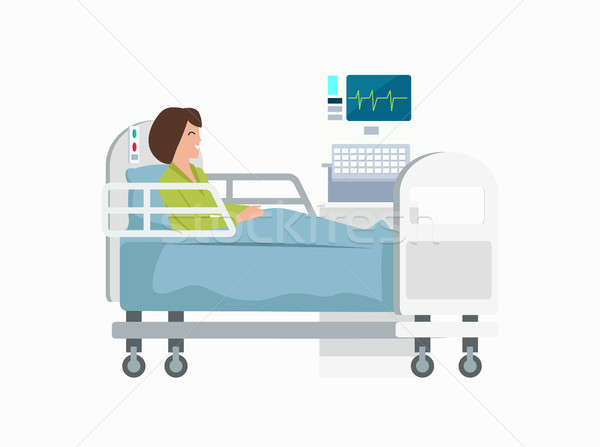 Woman on Hospital Bed Icon Vector Illustration Stock photo © robuart