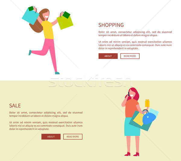 Females with Shopping Bags Vector Illustration Stock photo © robuart
