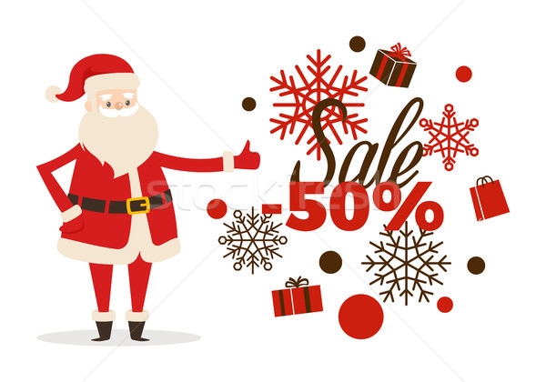 Stock photo: Sale Poster Up to 50 Price Reduction, Santa Icon