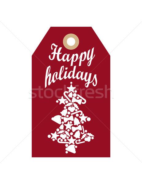 Felice vacanze promo etichetta silhouette albero Foto d'archivio © robuart
