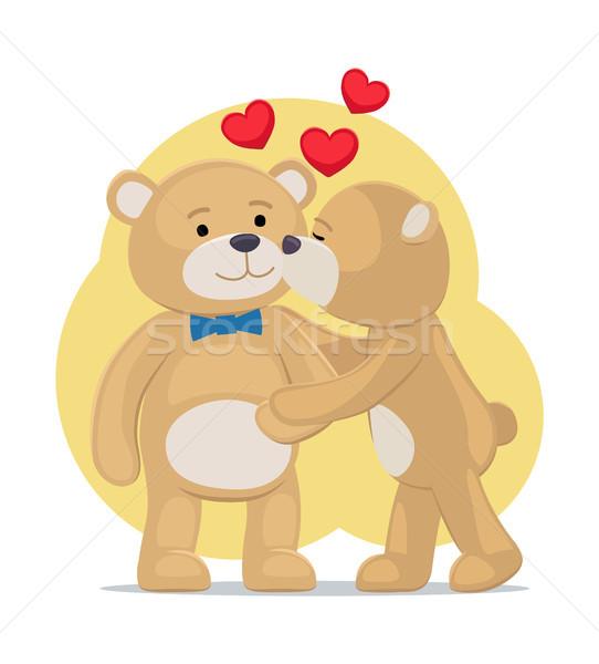 Ursos de pelúcia casal feminino masculino bochecha corações Foto stock © robuart