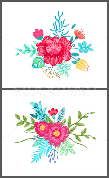 Set of Cute Floral Patterns on Vector Illustration Stock photo © robuart