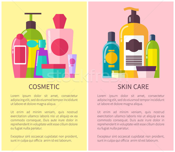 Cosmetic Skin Care Many Vials Vector Illustration Stock photo © robuart