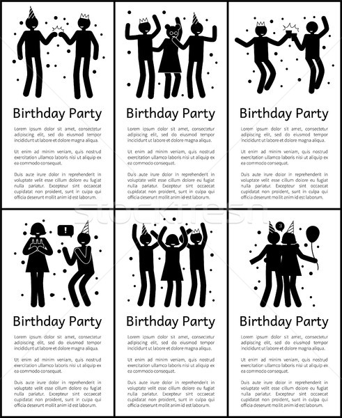 Birthday Party Vertical Posters with Sample Texts Stock photo © robuart