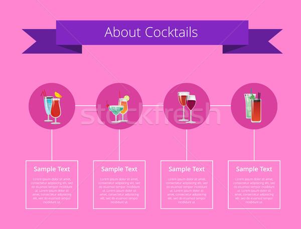 Koktélok poszter alkohol italok szett körök Stock fotó © robuart