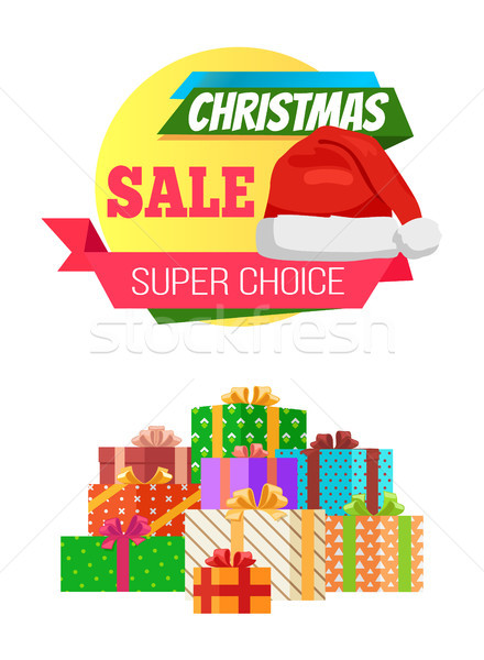 Super Choice Christmas Sale Poster Promo Label Hat Stock photo © robuart