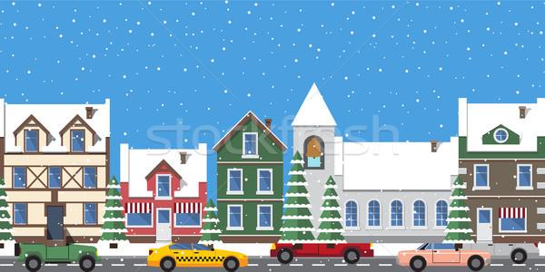Cityscape horizontal cartaz edifícios janela torre Foto stock © robuart