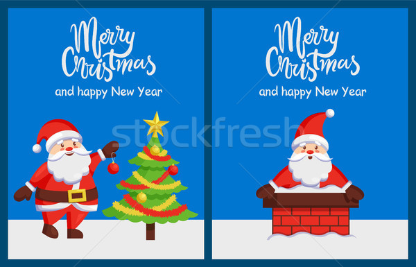 Merry Christmas Santa Claus in Chimney Vector Tree Stock photo © robuart