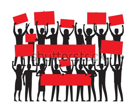 Group of People with Red Placards Silhouettes Stock photo © robuart