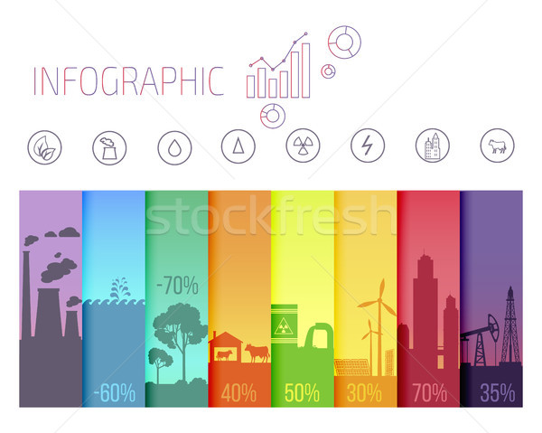Infographic Poster with Ecological Problems Stock photo © robuart