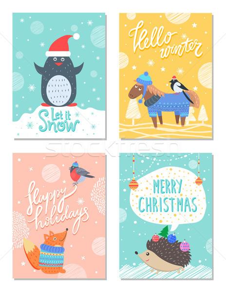 śniegu Hello zimą 60s kolorowy pocztówkę Zdjęcia stock © robuart