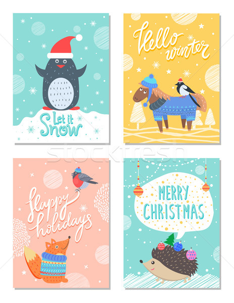 Sneeuw hallo winter 60s kleurrijk briefkaart Stockfoto © robuart
