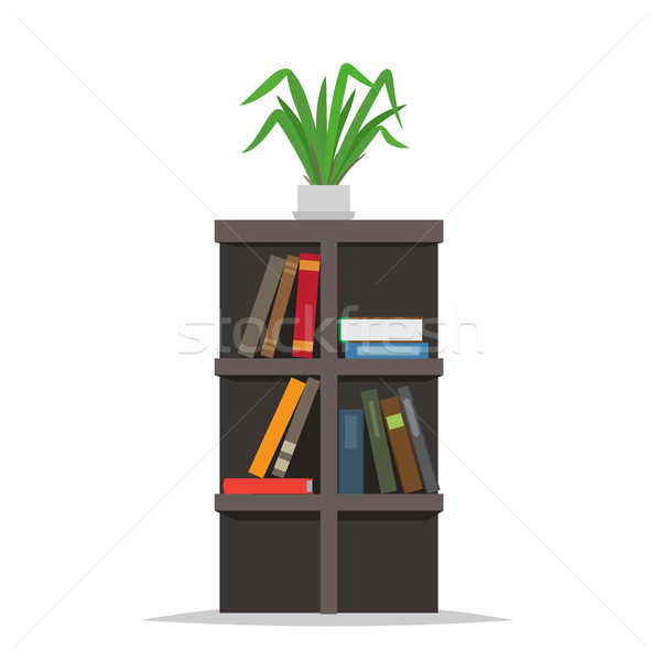 Bookcase with Books and Flowerpot on Top Vector Stock photo © robuart