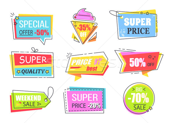 Etiketler yarım fiyat azalma parlak Stok fotoğraf © robuart