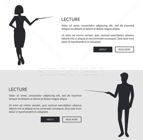 Előadó férfi nő sziluett fekete információ Stock fotó © robuart
