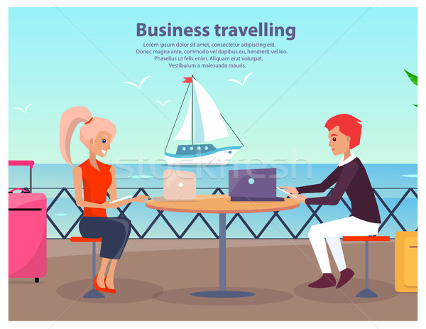 Business Travelling Man Woman Vector Illustration Stock photo © robuart