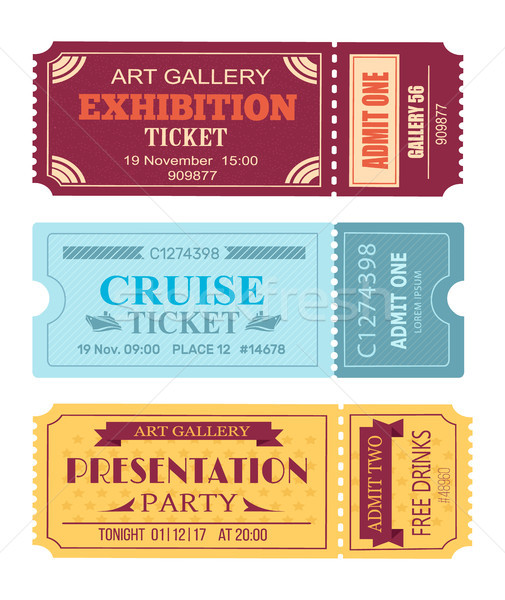 Art Gallery Exhibition Ticket, Cruise Coupon Set Stock photo © robuart