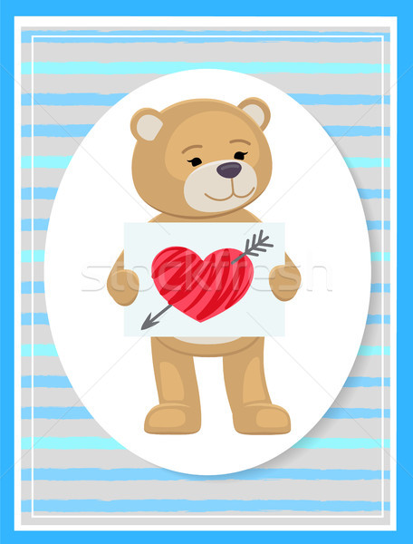 Stuffed Teddy with Sheet of Paper and Broken Heart Stock photo © robuart
