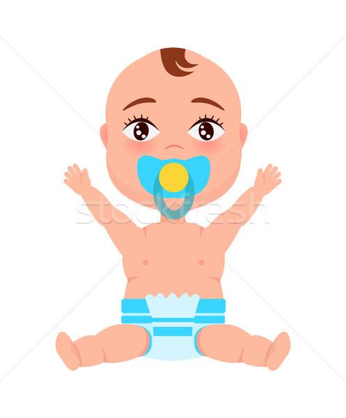 Baby zuigeling luier fopspeen mond handen omhoog Stockfoto © robuart