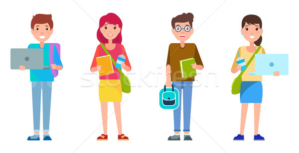 Students Smiling Collection Vector Illustration Stock photo © robuart