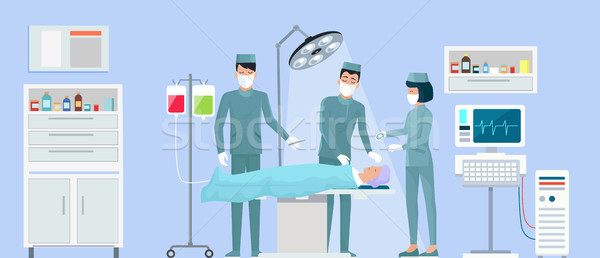 Operation in Surgery on Vector Illustration Blue Stock photo © robuart
