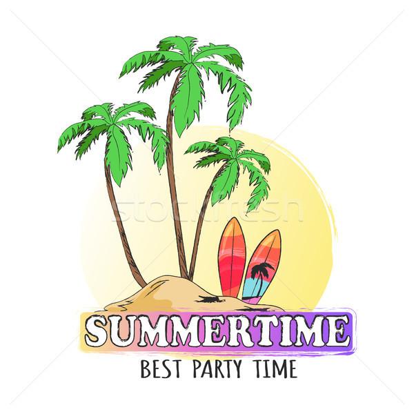 Trópusi sziget pálmafák fényes szörfdeszkák nyáridő legjobb Stock fotó © robuart
