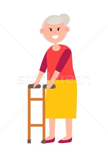 Zdjęcia stock: Przyjazny · babcia · siwe · włosy · jasne · długo · spódnica