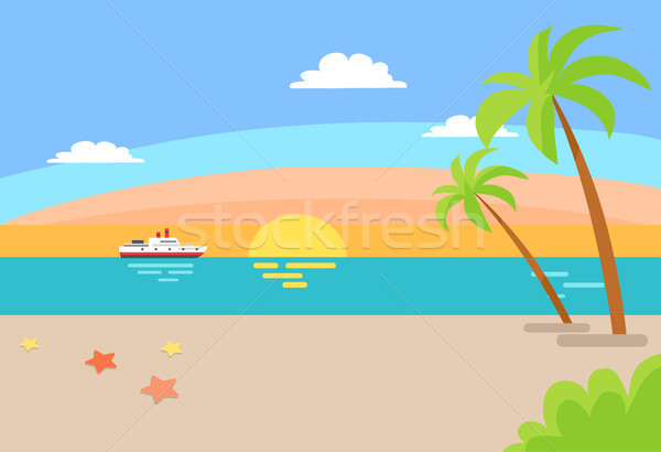Cruise Ship Sailing Ocean, Summer Beach Landscape Stock photo © robuart