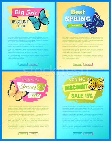 Sale Spring Discount Labels Set Pages Butterflies Stock photo © robuart