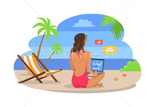 Kobieta strój kąpielowy laptop egzotyczny plaży freelance Zdjęcia stock © robuart