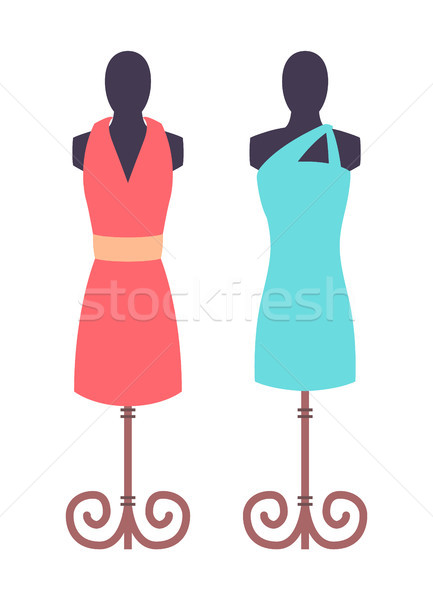 Dark Mannequins with Vogue Female Dresses Image Stock photo © robuart