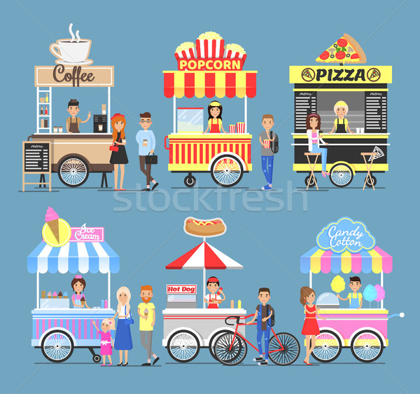 Tasty Street Food Snacks from Carts with Vendors Stock photo © robuart