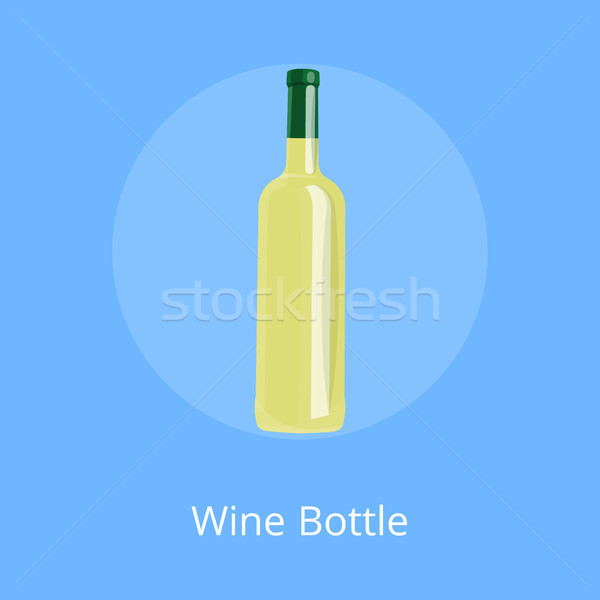 Bottle of White Wine Isolated on Blue Background. Stock photo © robuart
