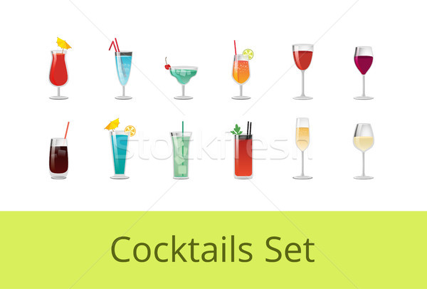 Tasty Summer Cocktails and Alcohol Beverages Set Stock photo © robuart
