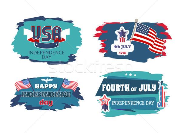 Dördüncü mutlu gün afişler ABD tatil Stok fotoğraf © robuart