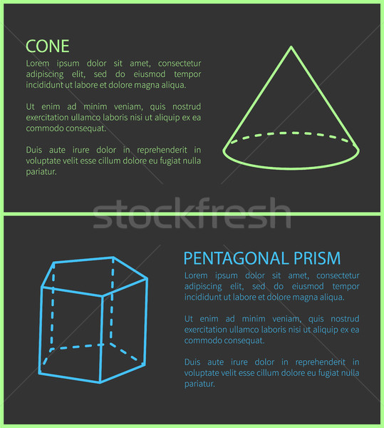 Cone and Pentagonal Prism Geometric Shapes Simple Stock photo © robuart