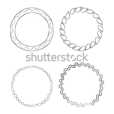 Round Doodle Line Art Frames Vector Set Stock photo © robuart