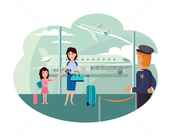 Mother and Daughter at Airport Ready to Leave Stock photo © robuart