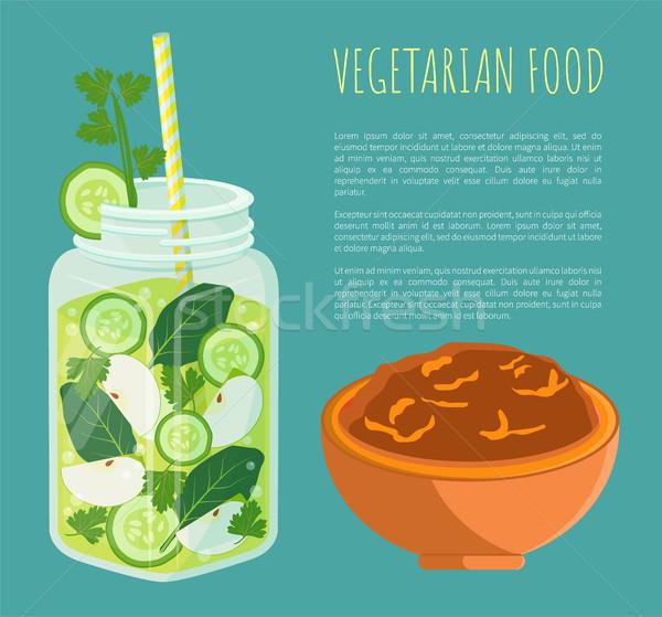 Vegetáriánus étel poszter detoxikáló diéta vektor frissítő Stock fotó © robuart