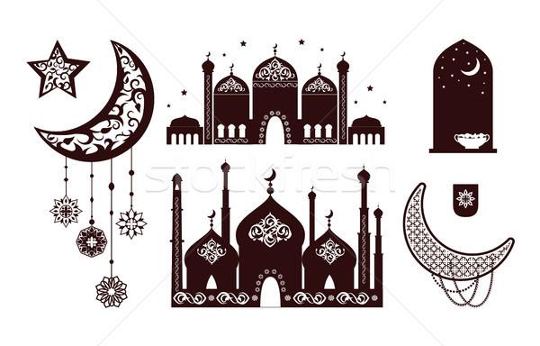 Foto stock: Muçulmano · conceitos · silhuetas · mesquita · noite · estrelas